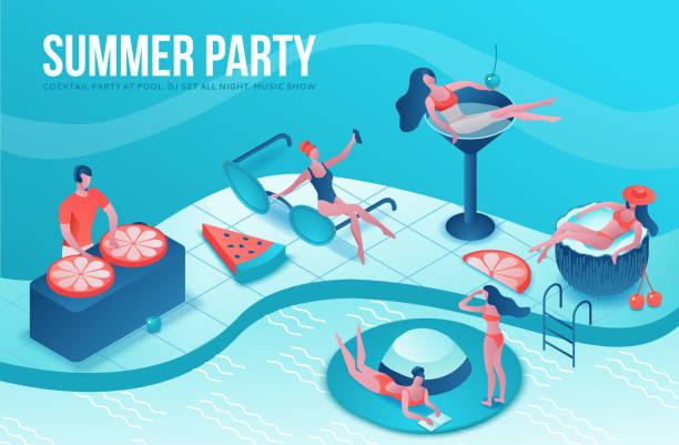 Pool-Party isometrische 3d-Illustration mit Cartoon-Menschen im Badeanzug, Cocktail trinken, entspannen, DJ, Musik, Erholungs-Spa-Konzept, Wassermelone, Orange, Sommer-Event-Hintergrund, Freizeit – Vektorgrafik