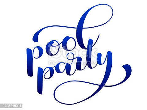 istock Pool party lettering for clothing or poster. Vector illustration 1128248016