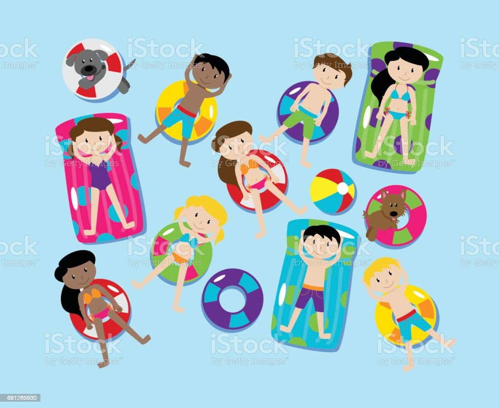 Pool Party or Lake Party Vector Set, Including Children and Dogs Swimming and Floating vector art illustration