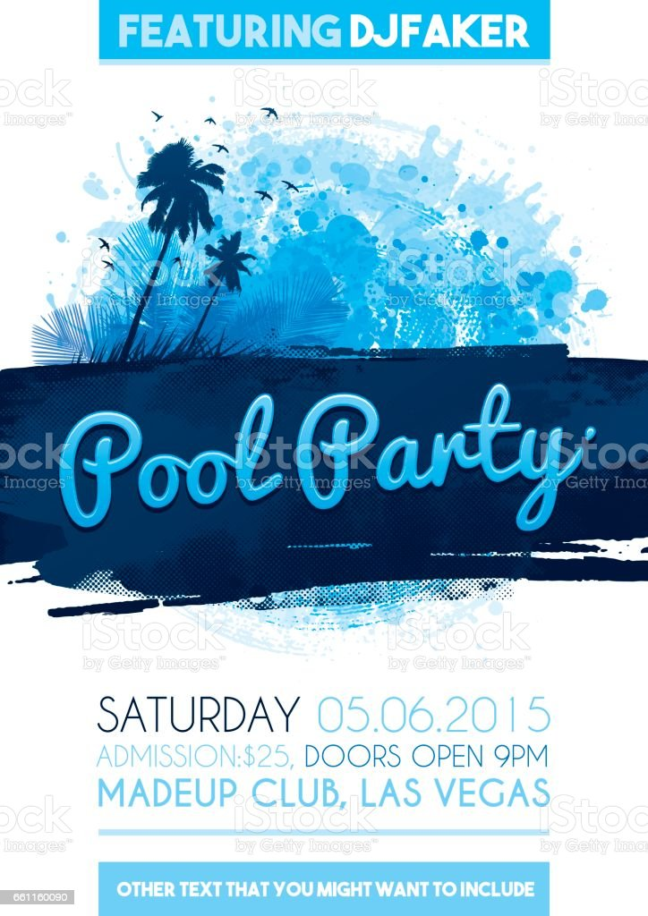 pool party poster invitation vector art illustration