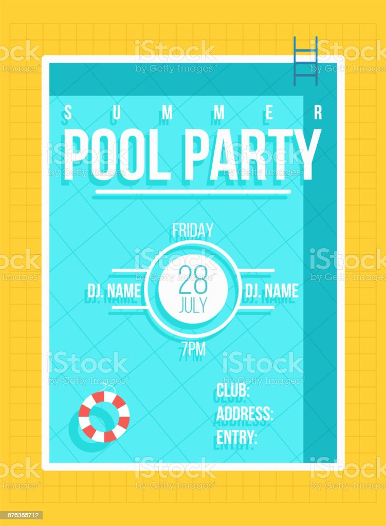 Pool party poster. Summer party invitation, flyer concept vector art illustration