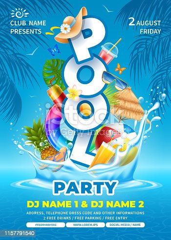 istock Pool Party Poster Template 1157791540