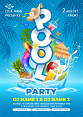 Bright and fun advertising poster template for pool party. Swim ring, beach ball, cocktails and some beach accessories falls into crystal clean pool water with splashes. Vector illustration.