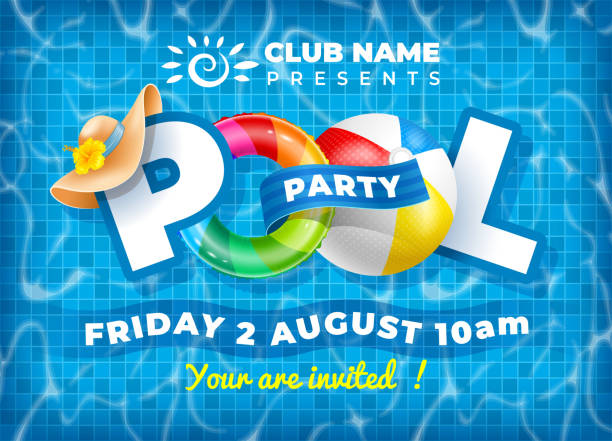 Pool Party Poster Template Vector bright and fun advertising poster template for pool party. Colorful swimming ring, beach ball and letters float on crystal clean water with sunny highlights. Pool tile texture on background. pool party stock illustrations
