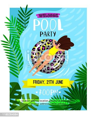 Pool party poster. Summer holiday pool party invitation with woman in fashion swimsuit, water and palm leaves on sunshine vector illustration