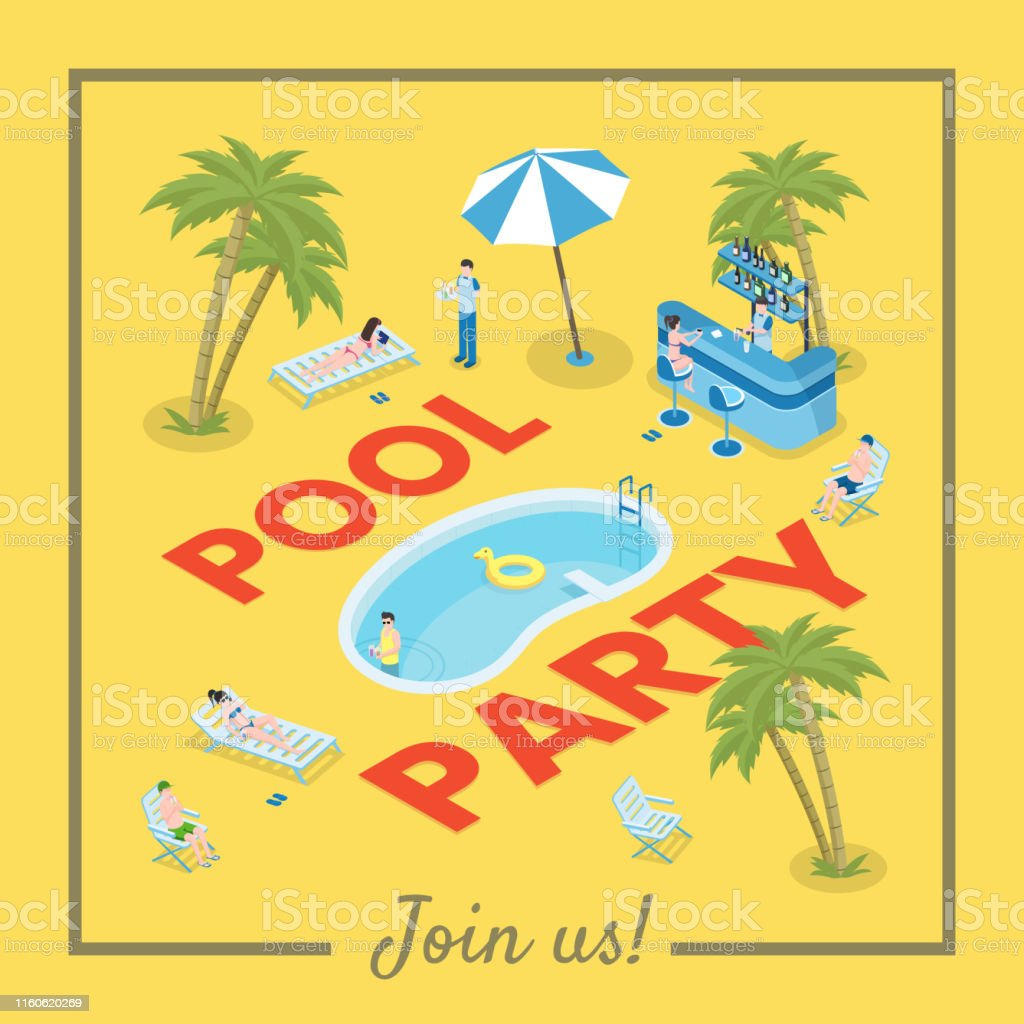 Pool party social media banner template. Active summertime...