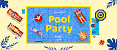 Pool party, top view. Group of people swim in water, sunbathing near pool. Humans lying on sun loungers and tanning. Summertime leisure,tropical resort. Banner with place for text. Vector illustration