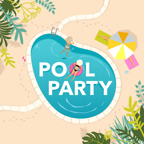 Royalty free pool party clip art vector images illustrations istock for Free clipart swimming pool party