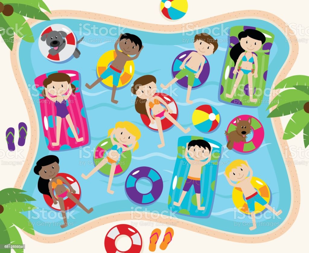 Pool Party Vector Set, Including Pool Background and Children and Dogs Swimming vector art illustration