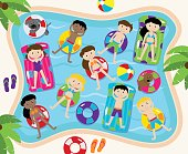Pool Party Vector Set, Including Pool Background and Children and Dogs Swimming