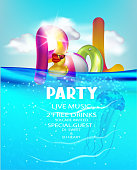 Pool party with inflatable toys in a water. Vector illustration