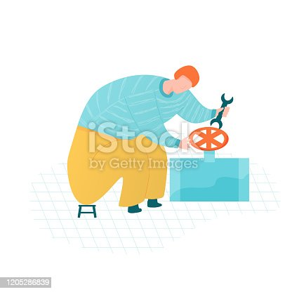 Service worker repairs pool pump, providing pool maintenance. Cleaning service with quality and guarantee. Red hair man in blue sweater and yellow pants sitting. Vector illustration.
