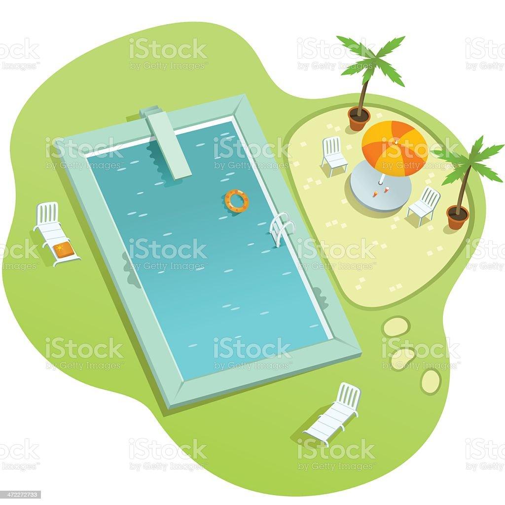 Pool Side vector art illustration