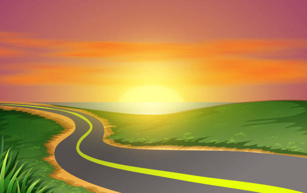 pool sunset landscape of road on the beach in sunset horizon over water stock illustrations