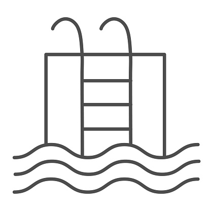 Pool thin line icon. Basin full of water with ladder illustration isolated on white. Swimming pool outline style design, designed for web and app. Eps 10.
