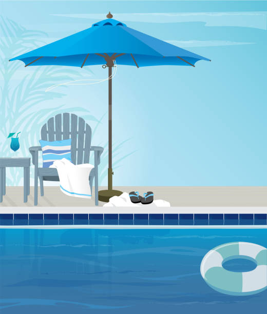 Poolside relaxation cocktails and tropical breeze Relaxing tropical swimming pool and beach chairs in blue and aqua tones. Copy space adirondack chair stock illustrations