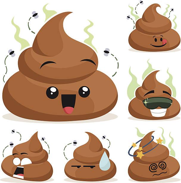 Poop Cartoon Set A Cartoon cow poop set including:  feces stock illustrations