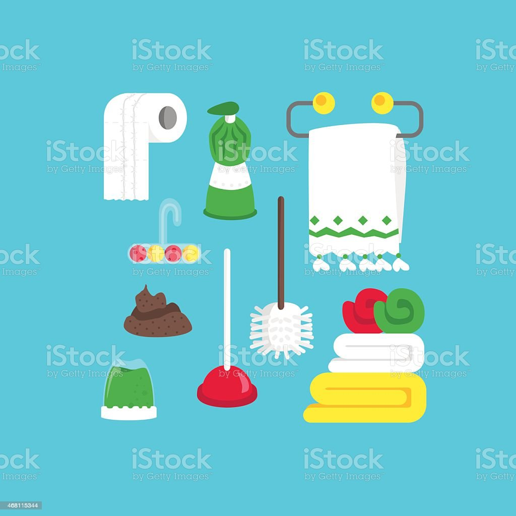Poop, cleaning equipment and soap vector art illustration
