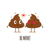 Poop couple. Be mine. Valentines day greeting card with cute smiling poop. Vector