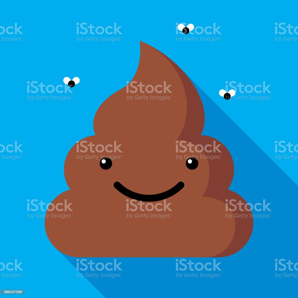 Poop icône plate - Illustration vectorielle