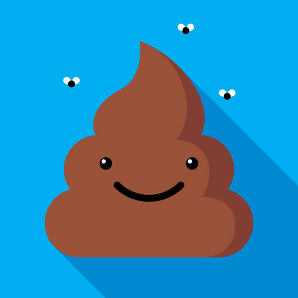 Poop Icon Flat Vector illustration of a smiling poop against a blue background in flat style. feces stock illustrations