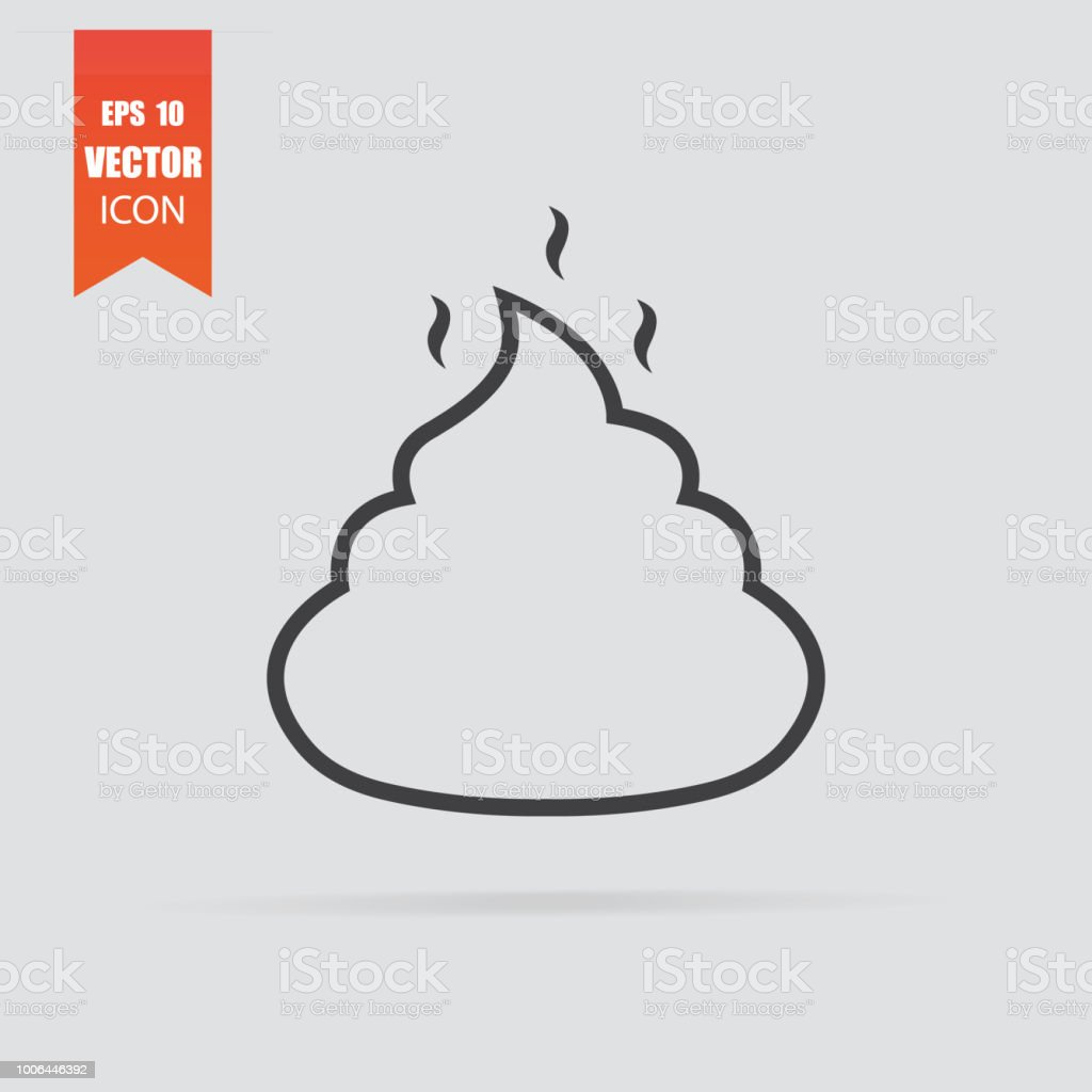 Poop Icon In Flat Style Isolated On Grey Background Stock
