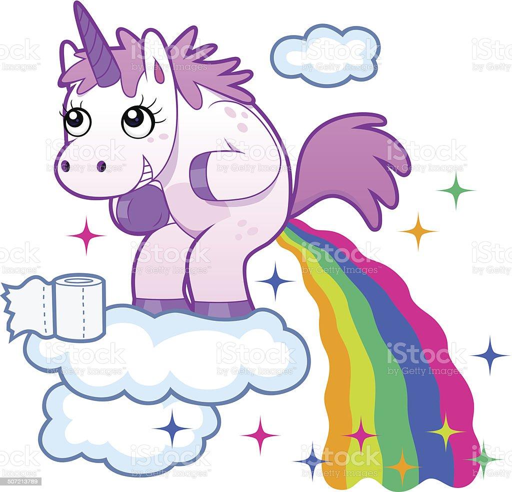 pooping unicorn vector art illustration