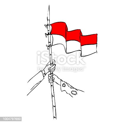 Bamboo And Indonesian Flag Free Vector Download It Now