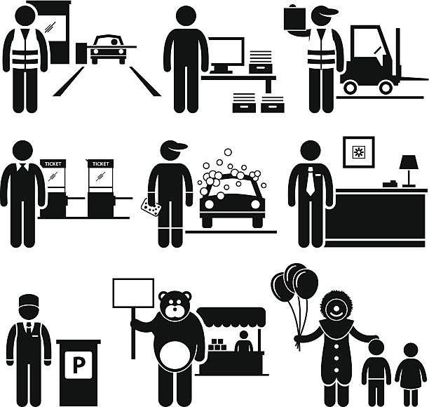 stockillustraties, clipart, cartoons en iconen met poor low class jobs occupations careers - warehouse worker