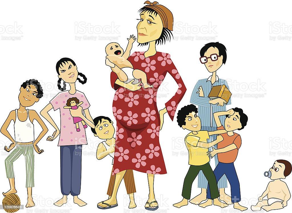 Poor Mama! vector art illustration