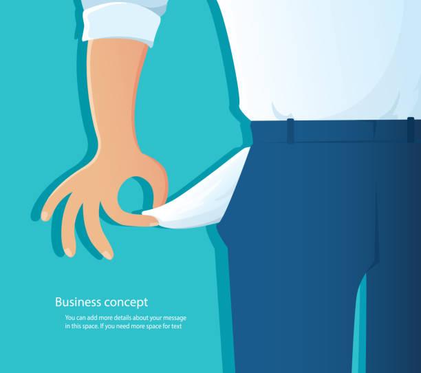 stockillustraties, clipart, cartoons en iconen met arme man toont zijn lege zakken op blauwe achtergrond vector illustratie eps10 - faillissement
