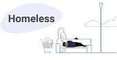 poor man sleeping outdoor drunk beggar lying on wooden bench homeless concept sketch doodle horizontal full length vector illustration