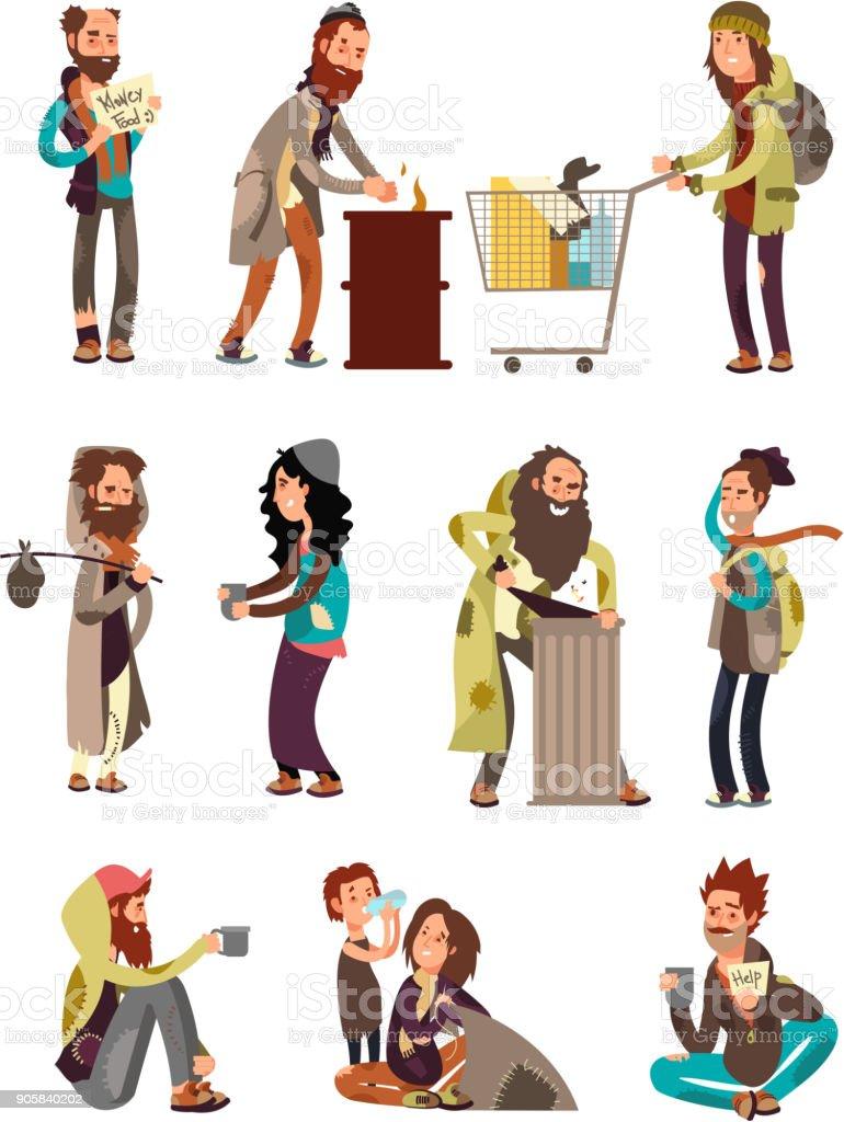 Poor unhappy homeless cartoon people needing financial help. Vector characters set vector art illustration