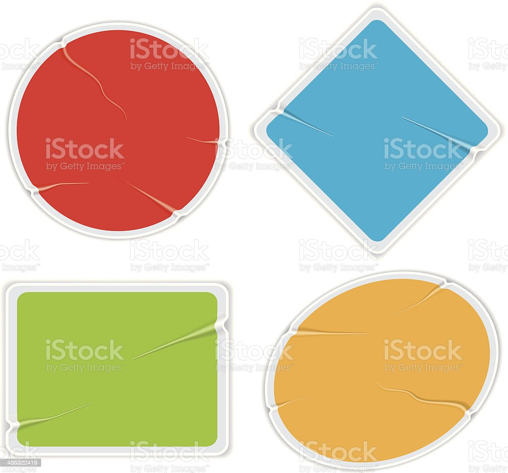 Poorly pasted stickers vector art illustration