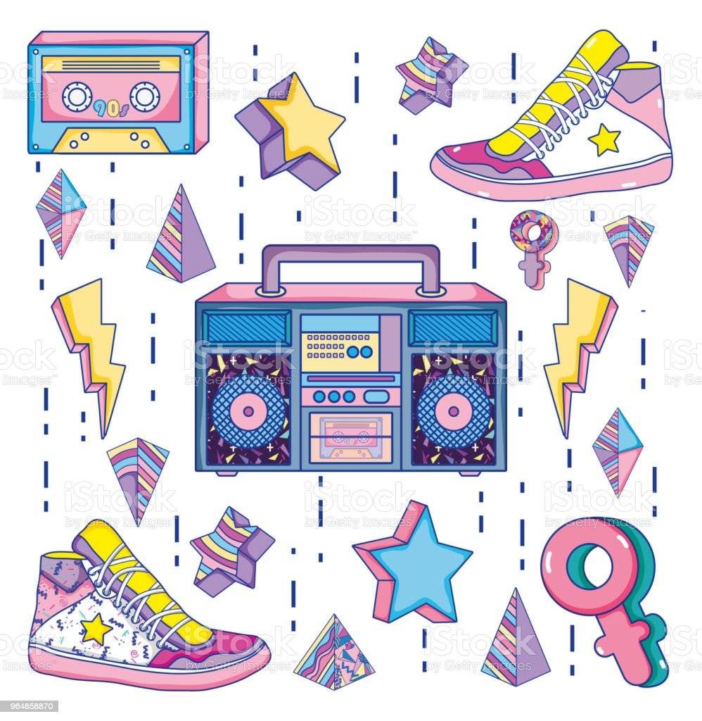 Pop art 1990s cartoons royalty-free pop art 1990s cartoons stock vector art & more images of audio cassette