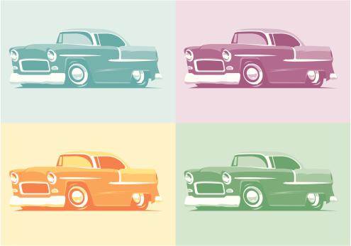 Pop Art 55 Chevys-vektorgrafik och fler bilder på 1950-1959