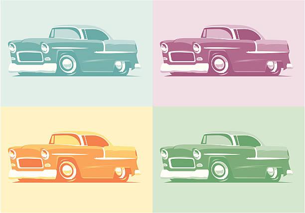 bildbanksillustrationer, clip art samt tecknat material och ikoner med pop art 55 chevys - 50 59 år