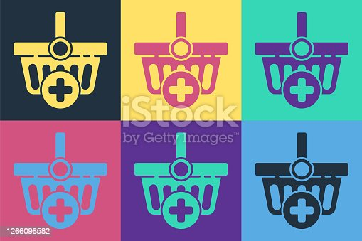 Pop art Add to Shopping basket icon isolated on color background. Online buying concept. Delivery service. Supermarket basket symbol. Vector Illustration