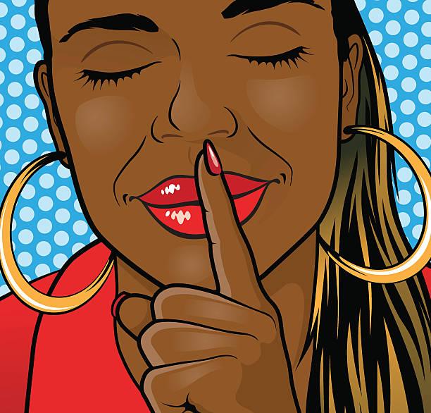 Pop Art African American Girl Sshhh Lips. vector art illustration