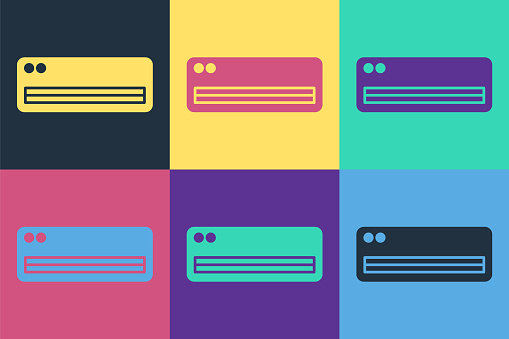 Pop art Air conditioner icon isolated on color background. Split system air conditioning. Cool and cold climate control system. Vector Illustration