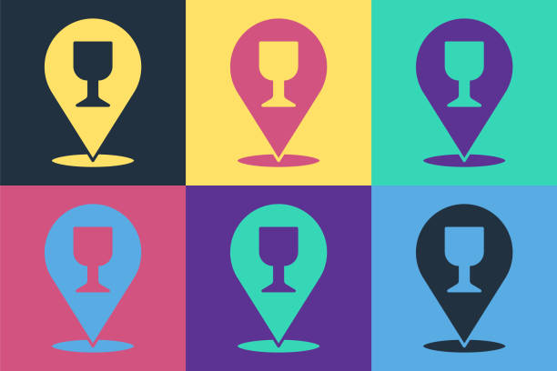 Pop art Alcohol or beer bar location icon isolated on color background. Symbol of drinking, pub, club, bar. Vector Illustration Pop art Alcohol or beer bar location icon isolated on color background. Symbol of drinking, pub, club, bar. Vector Illustration alcohol drink clipart stock illustrations