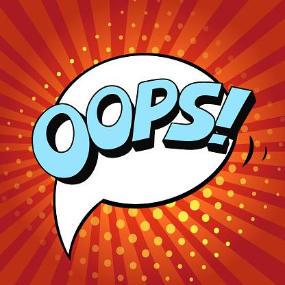 Pop art and comic design Oops speech bubble, vector illustration