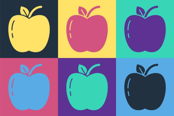 컬러 배경에 고립 된 팝 아트 애플 아이콘. 잎 기호와 과일. 벡터 일러스트레이션 - 잘 익은 stock illustrations
