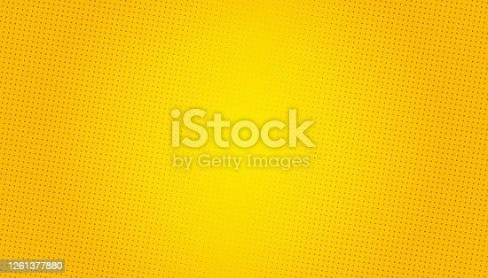 istock Pop Art background. Retro dotted background. Vector illustration. Halftone yellow pop art 1261377880