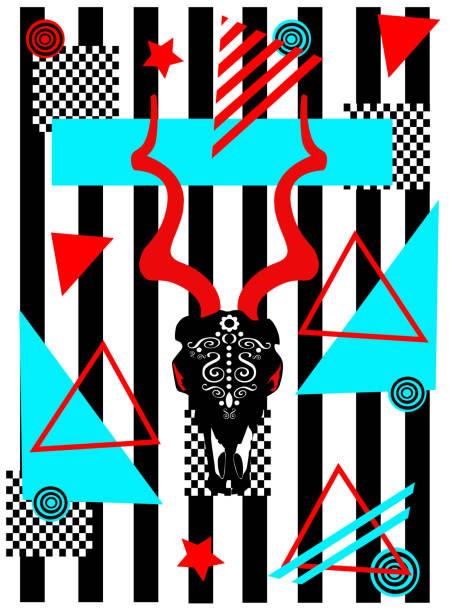 pop-art-hintergrund mit ziegenkopf abstrakte geometrische vektordarstellung - kultfilme stock-grafiken, -clipart, -cartoons und -symbole