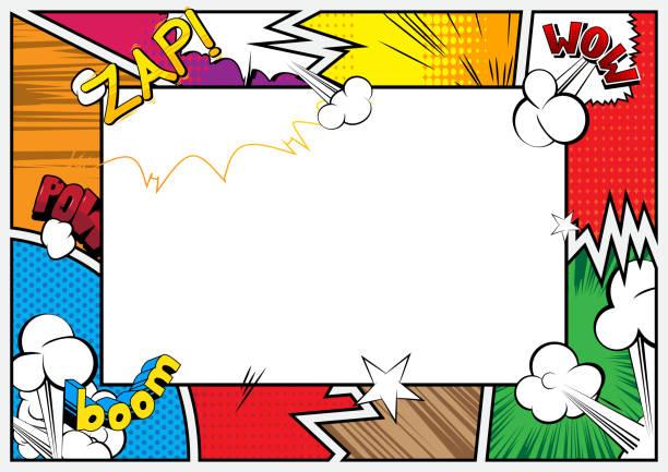illustrations, cliparts, dessins animés et icônes de pop art historique avec la place pour le texte. - super héros