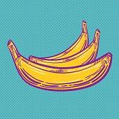 Pop Art Banana, Textured, Cartoon, Retro Style, Vector
