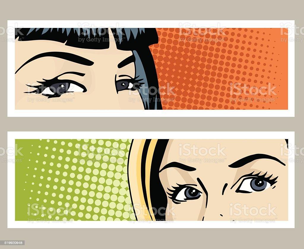 Pop Kunst Banner Mit Weiblichen Augen Vektor Illustration 519920948 ...