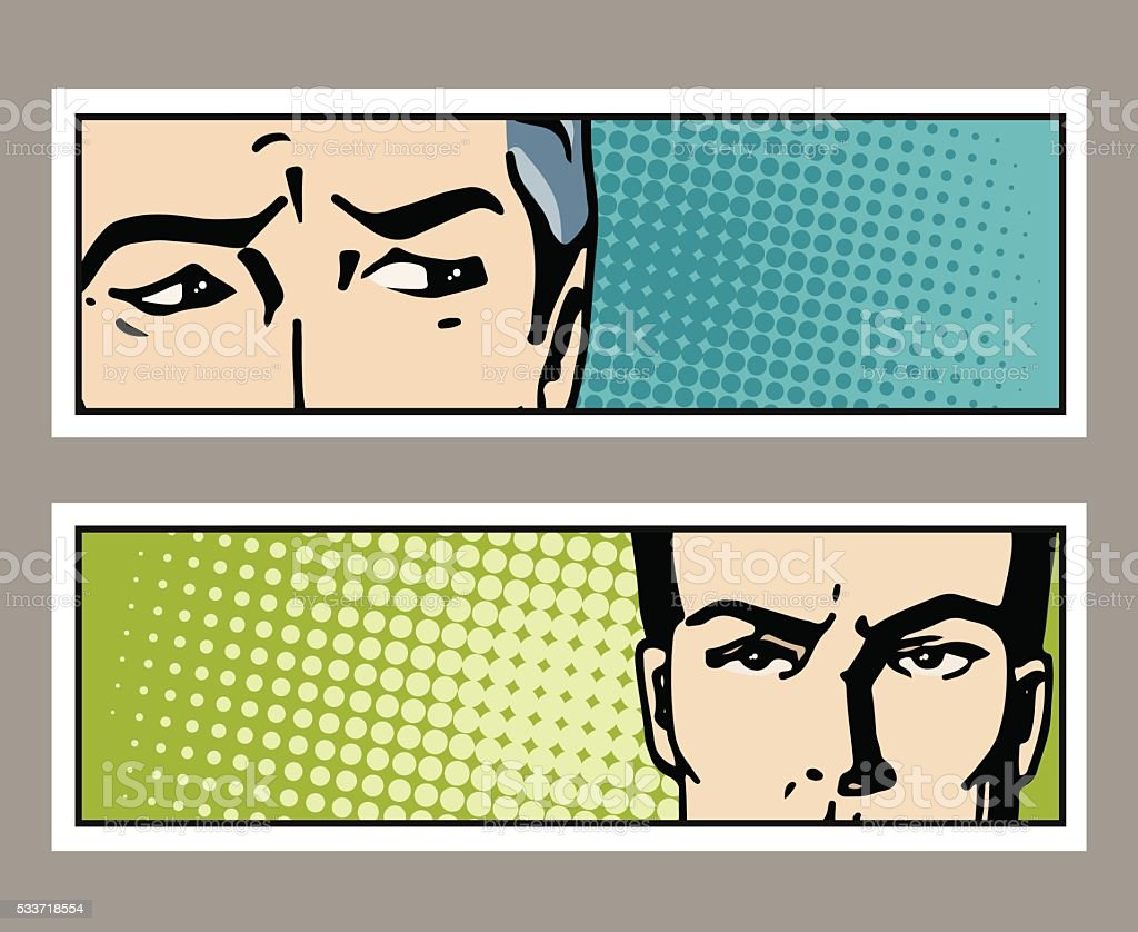 Pop art banner with male eyes and space for text. vector art illustration
