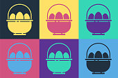 Pop art Basket with easter eggs icon isolated on color background. Happy Easter. Vector Illustration